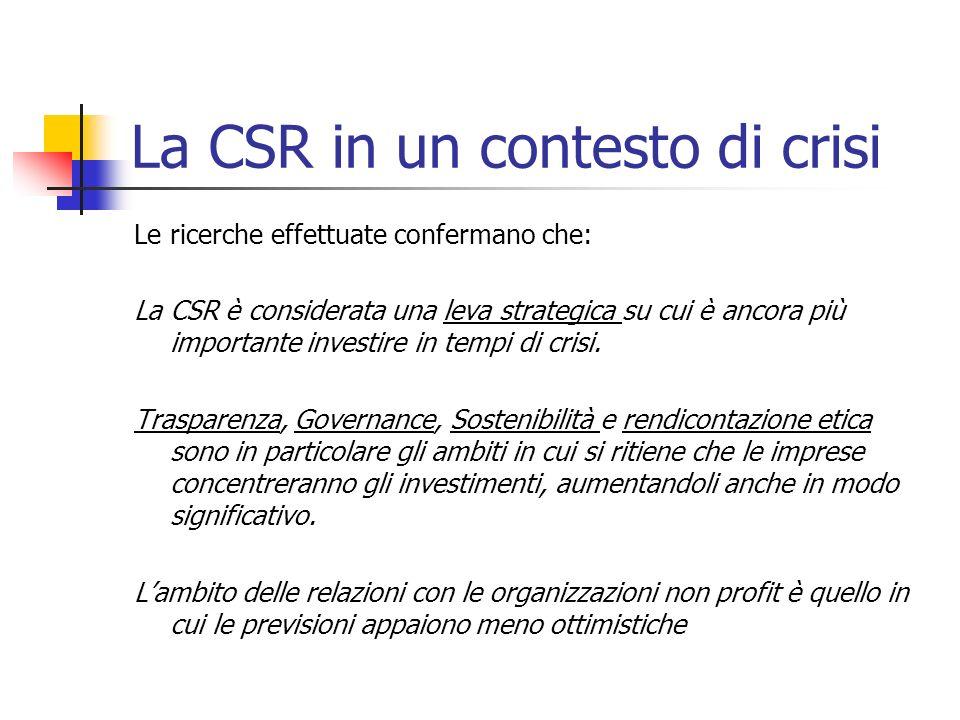 La CSR in un contesto di crisi