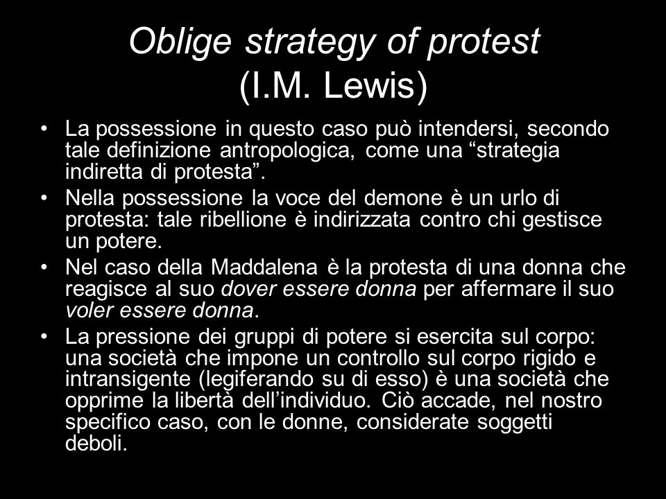 Oblige strategy of protest (I.M. Lewis)