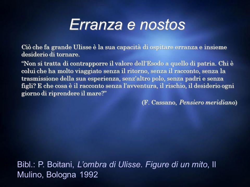 Erranza e nostos Ciò che fa grande Ulisse è la sua capacità di ospitare erranza e insieme desiderio di tornare.