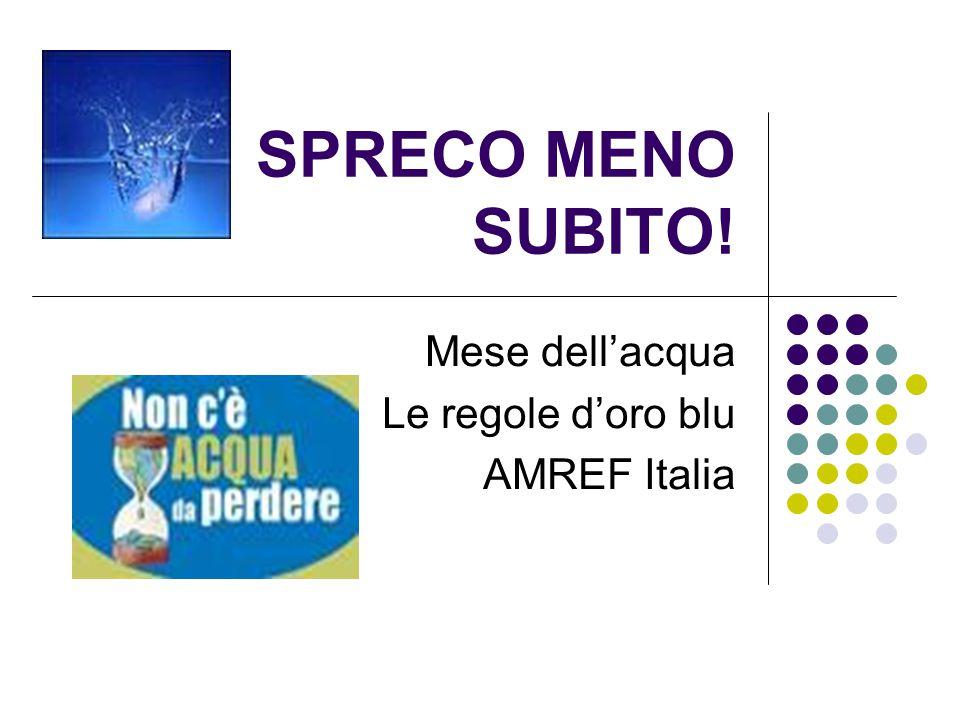 Mese dell'acqua Le regole d'oro blu AMREF Italia