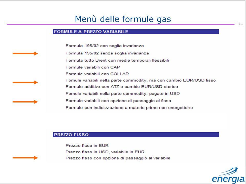 Menù delle formule gas