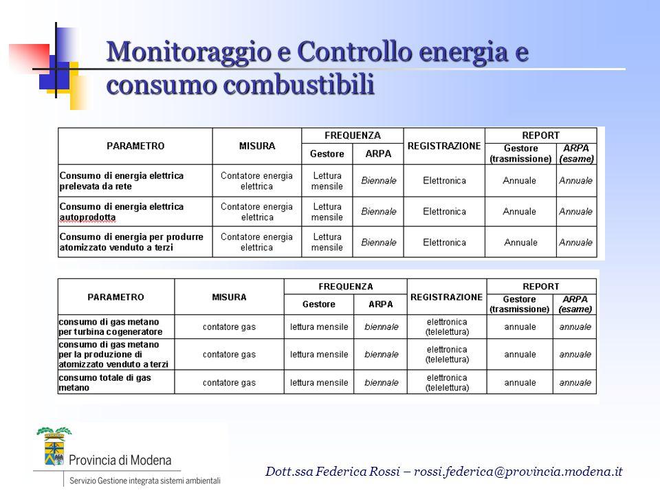 Monitoraggio e Controllo energia e consumo combustibili