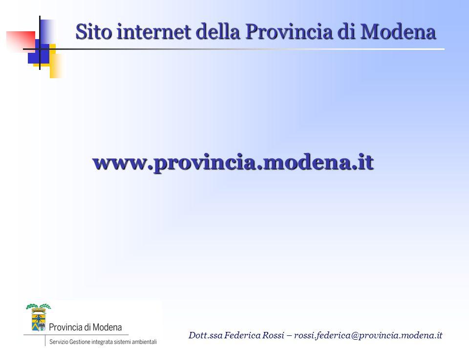Sito internet della Provincia di Modena