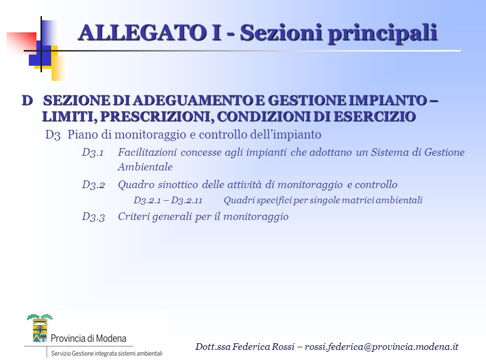 ALLEGATO I - Sezioni principali