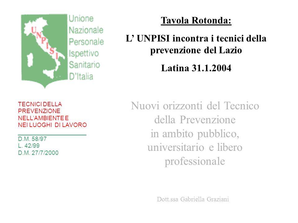 L' UNPISI incontra i tecnici della prevenzione del Lazio