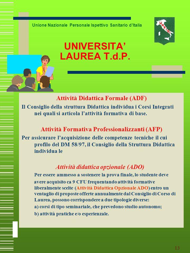 UNIVERSITA' LAUREA T.d.P.