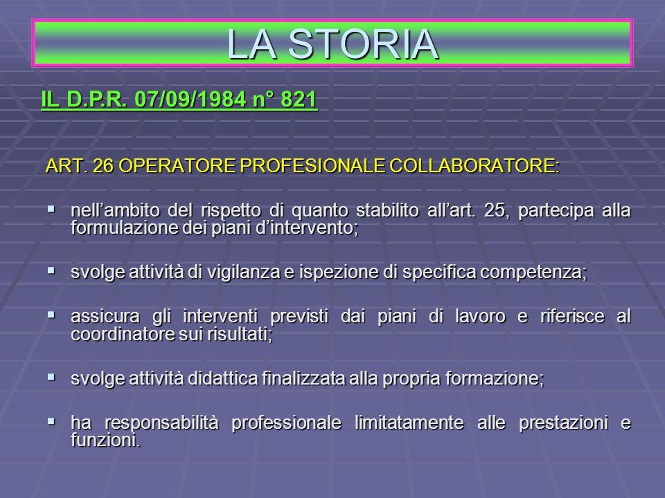 LA STORIA IL D.P.R. 07/09/1984 n° 821. ART. 26 OPERATORE PROFESIONALE COLLABORATORE: