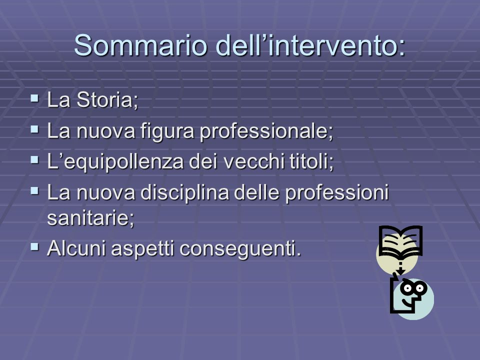 Sommario dell'intervento:
