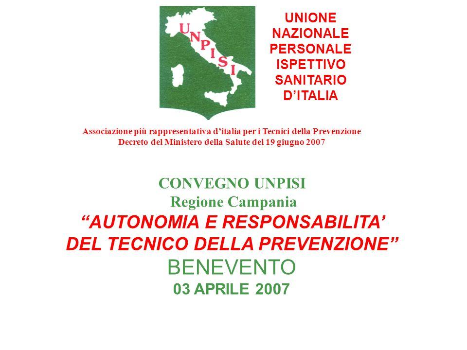 BENEVENTO AUTONOMIA E RESPONSABILITA' DEL TECNICO DELLA PREVENZIONE