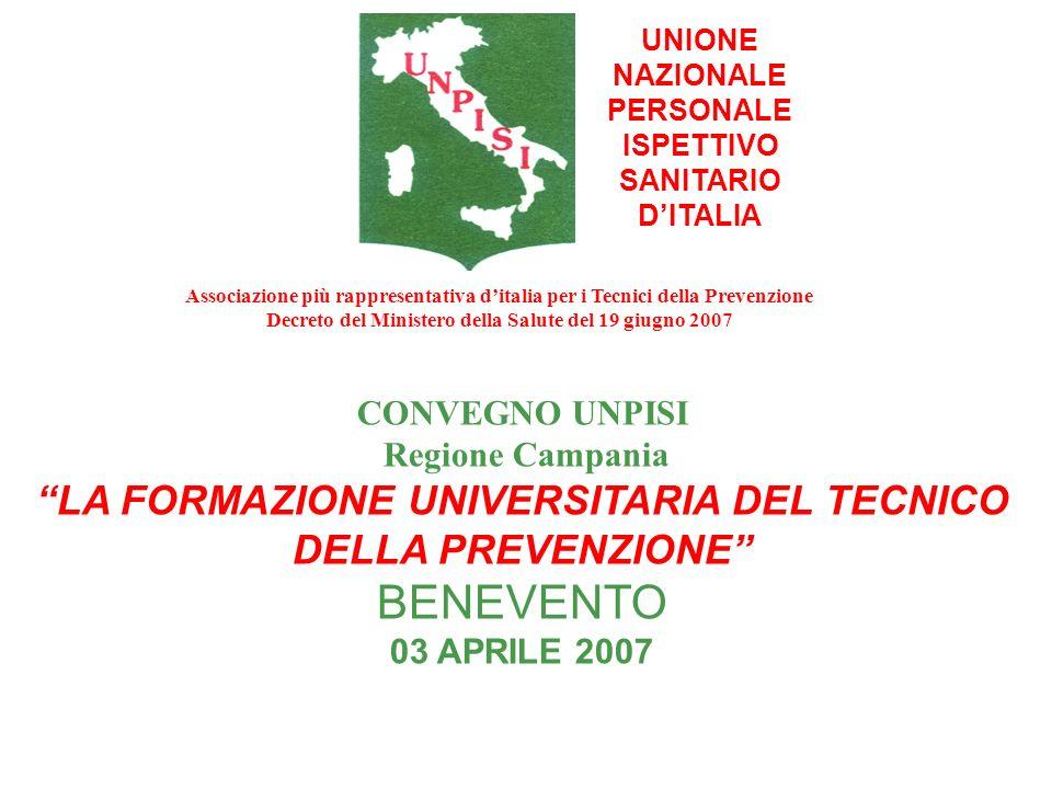 BENEVENTO LA FORMAZIONE UNIVERSITARIA DEL TECNICO DELLA PREVENZIONE