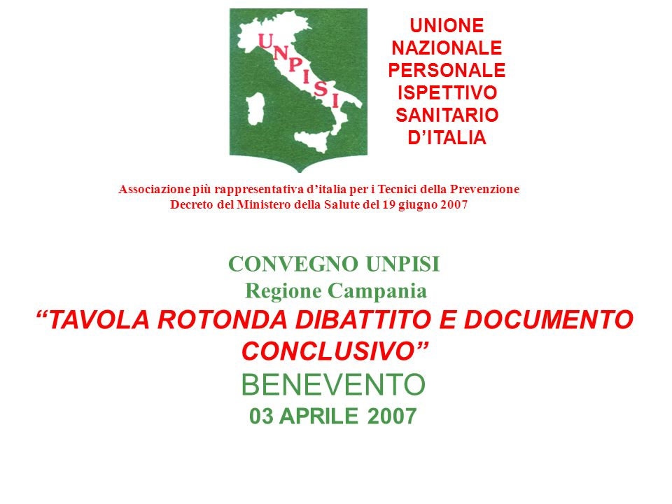 BENEVENTO TAVOLA ROTONDA DIBATTITO E DOCUMENTO CONCLUSIVO