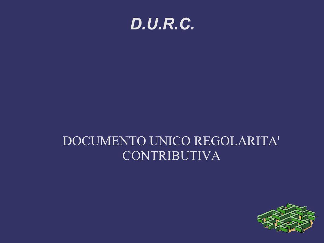 DOCUMENTO UNICO REGOLARITA CONTRIBUTIVA