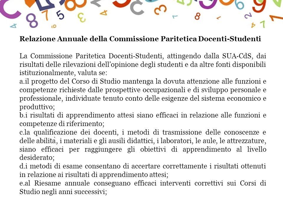 Relazione Annuale della Commissione Paritetica Docenti-Studenti