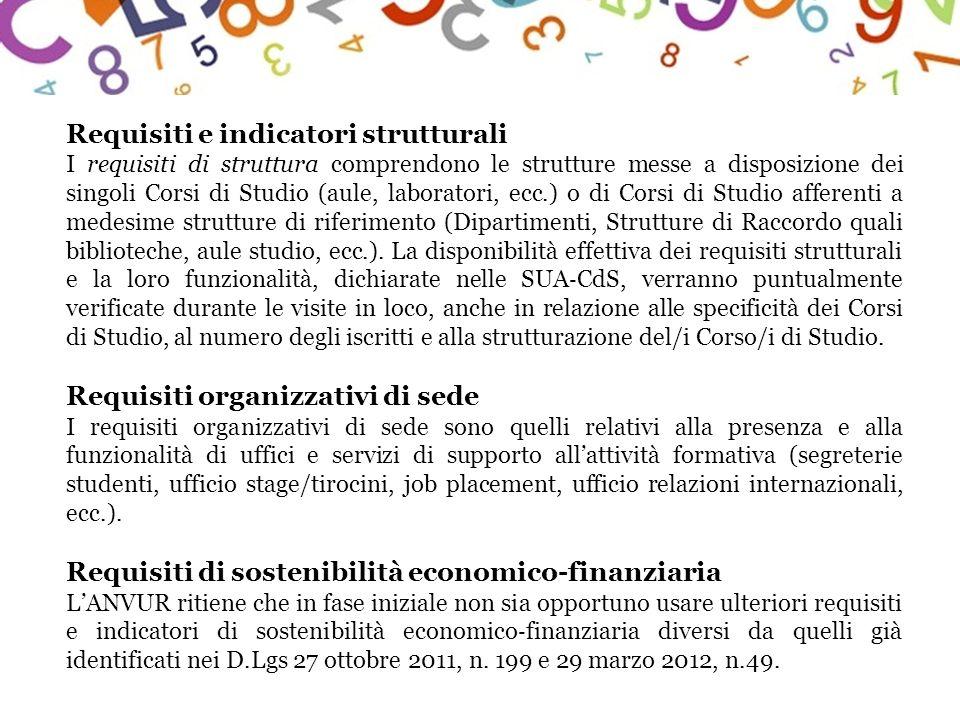 Requisiti e indicatori strutturali