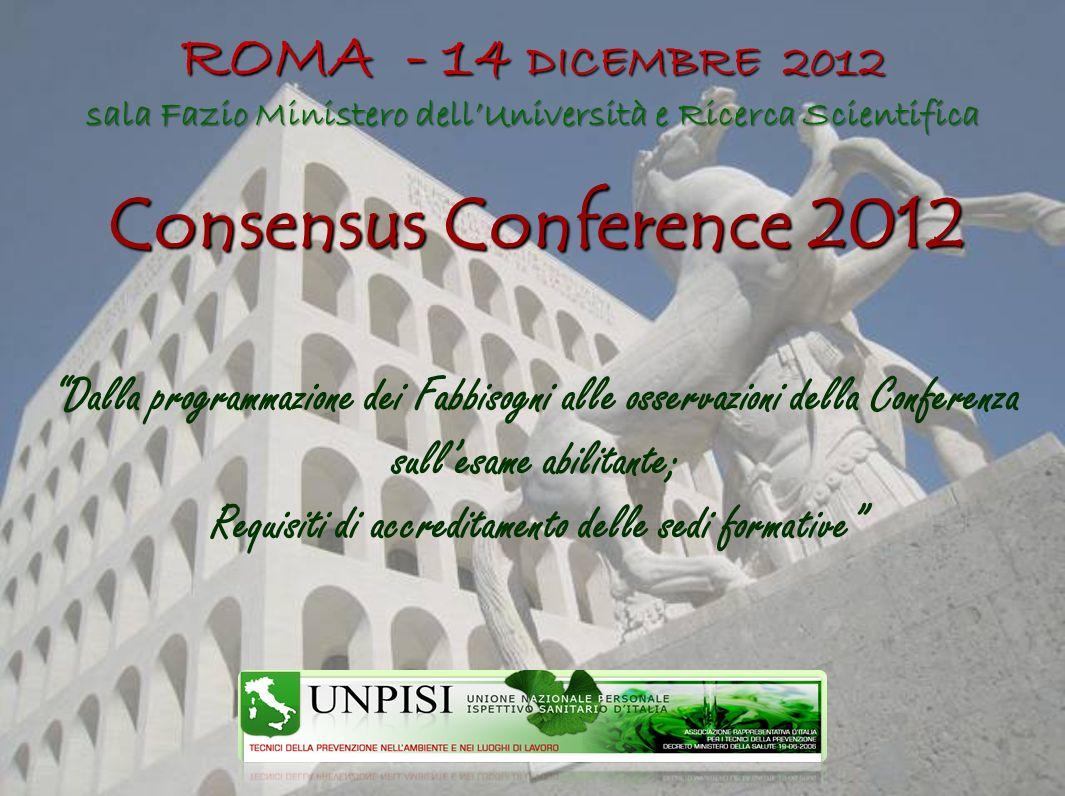Consensus Conference 2012 ROMA - 14 DICEMBRE 2012