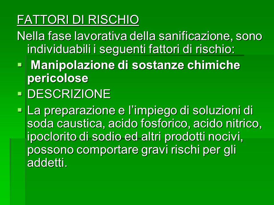 FATTORI DI RISCHIO Nella fase lavorativa della sanificazione, sono individuabili i seguenti fattori di rischio: