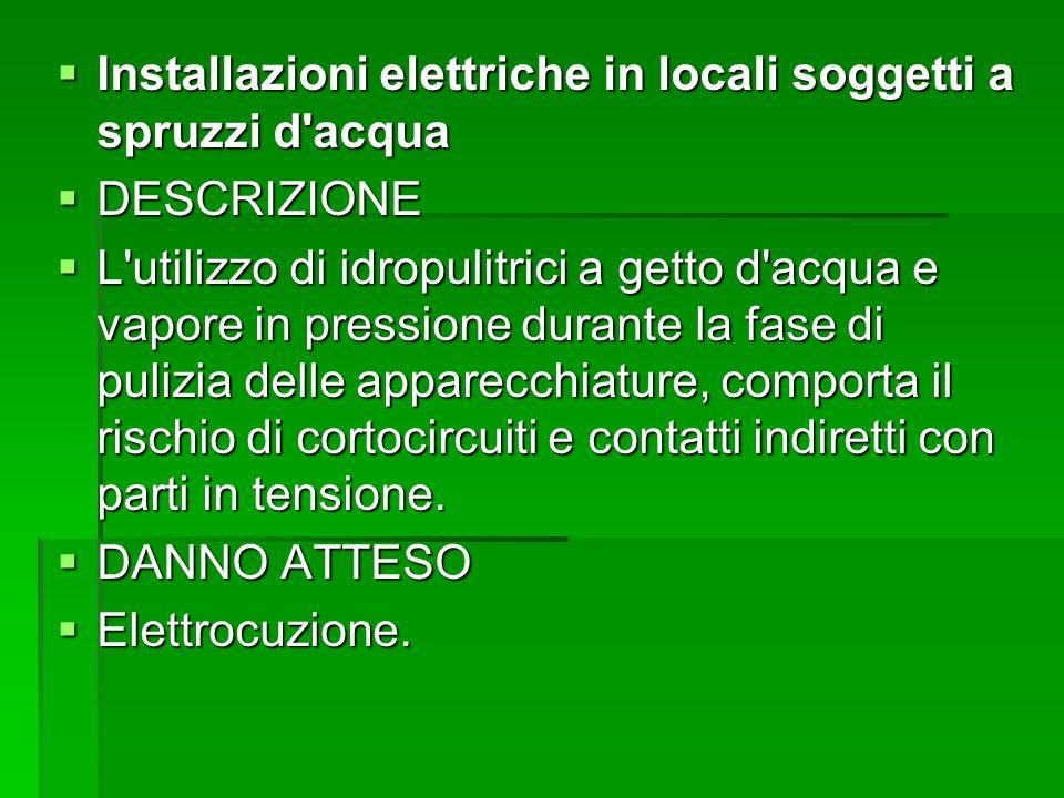 Installazioni elettriche in locali soggetti a spruzzi d acqua