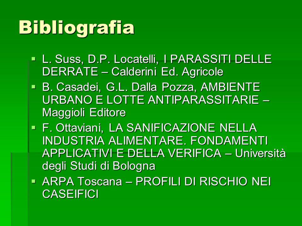 Bibliografia L. Suss, D.P. Locatelli, I PARASSITI DELLE DERRATE – Calderini Ed. Agricole.