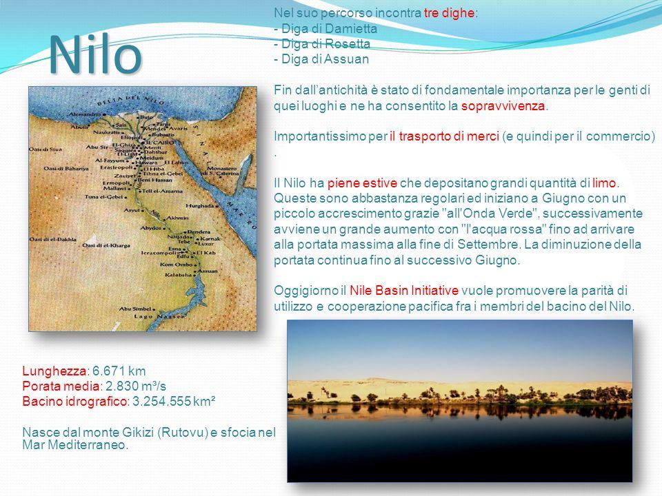 Nilo Nel suo percorso incontra tre dighe: - Diga di Damietta