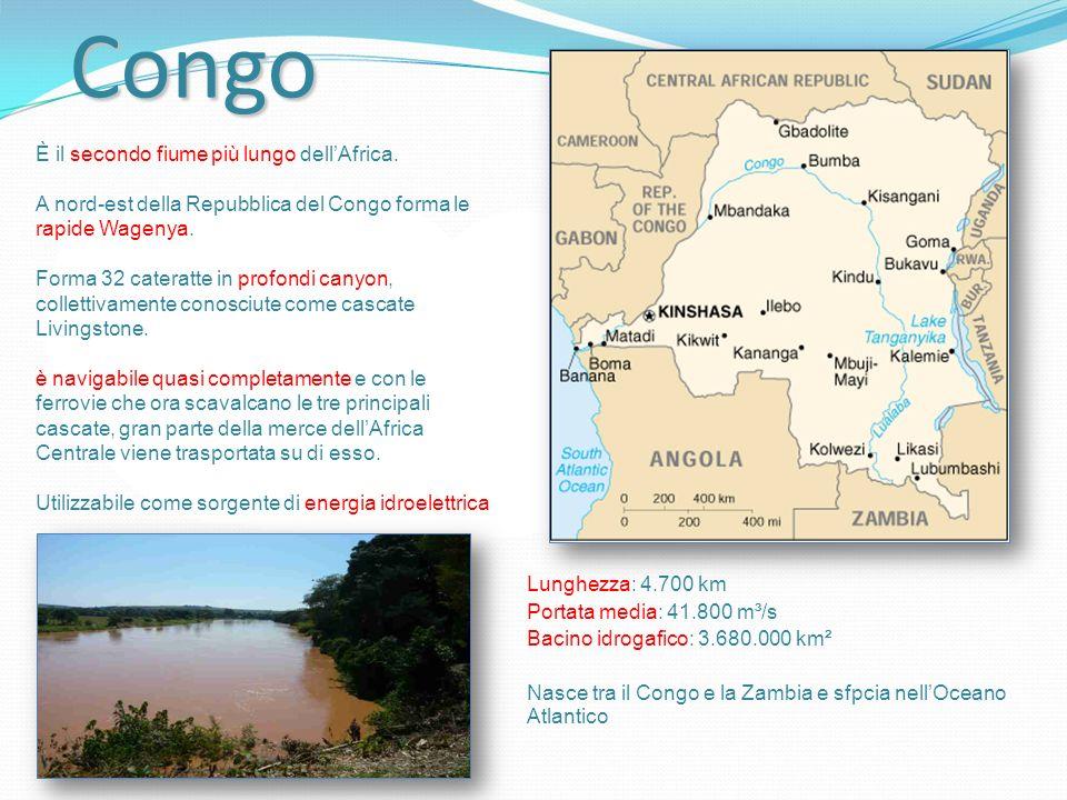 Congo È il secondo fiume più lungo dell'Africa.