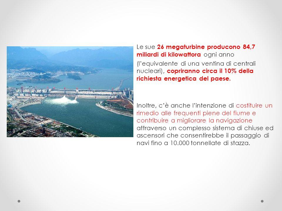Le sue 26 megaturbine producono 84,7 miliardi di kilowattora ogni anno (l'equivalente di una ventina di centrali nucleari), copriranno circa il 10% della richiesta energetica del paese.