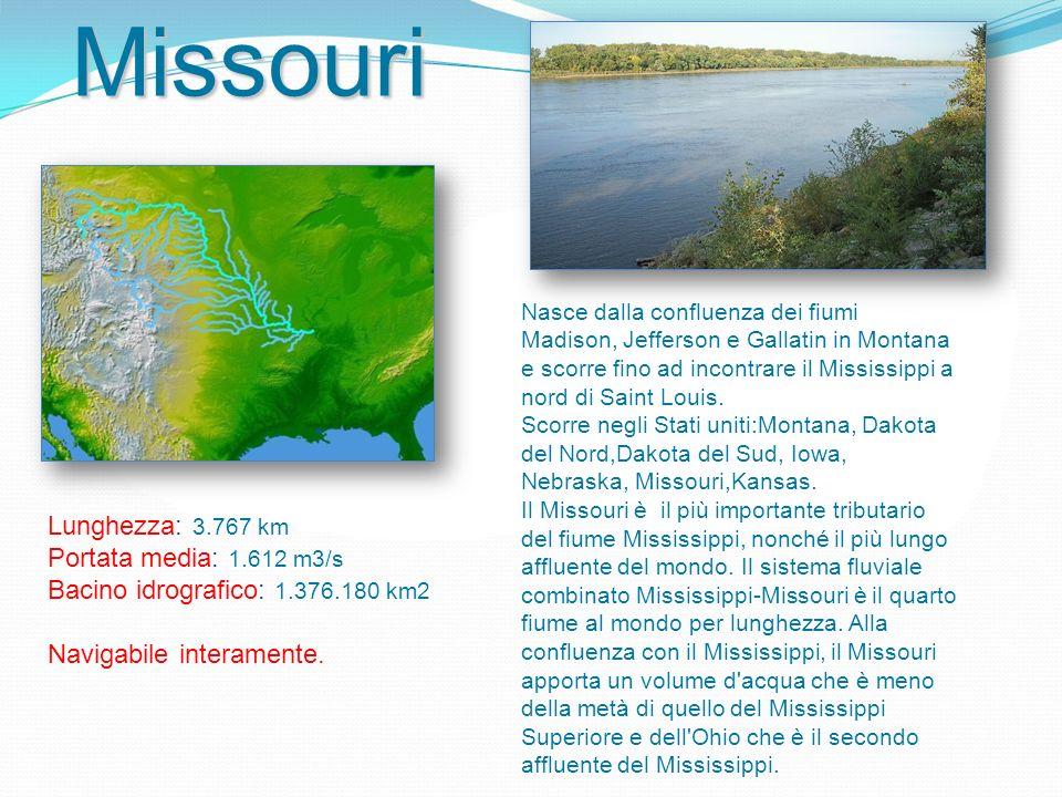 Missouri Lunghezza: 3.767 km Portata media: 1.612 m3/s