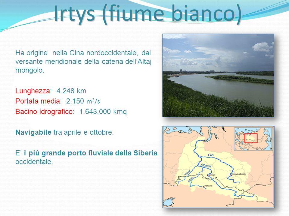 Irtys (fiume bianco) Ha origine nella Cina nordoccidentale, dal versante meridionale della catena dell'Altaj mongolo.