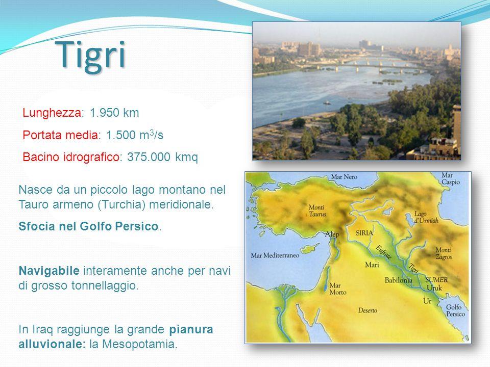Tigri Lunghezza: 1.950 km Portata media: 1.500 m3/s