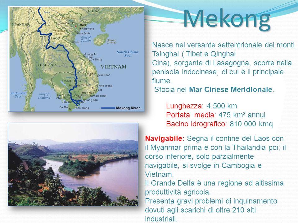 Mekong Nasce nel versante settentrionale dei monti Tsinghai ( Tibet e Qinghai.