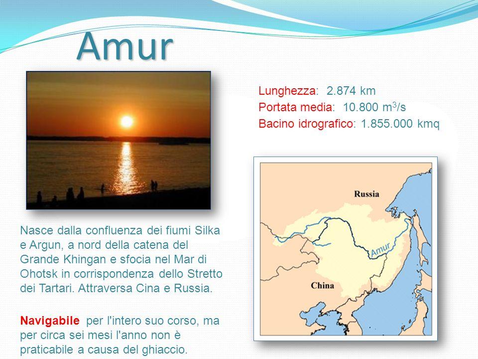 Amur Lunghezza: 2.874 km Portata media: 10.800 m3/s