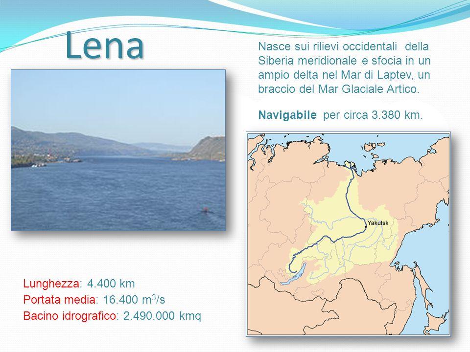 Lena Nasce sui rilievi occidentali della Siberia meridionale e sfocia in un ampio delta nel Mar di Laptev, un braccio del Mar Glaciale Artico.