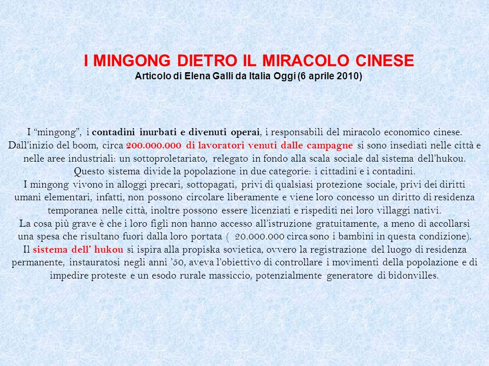 I MINGONG DIETRO IL MIRACOLO CINESE Articolo di Elena Galli da Italia Oggi (6 aprile 2010)