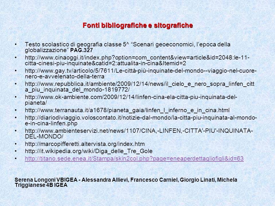 Fonti bibliografiche e sitografiche