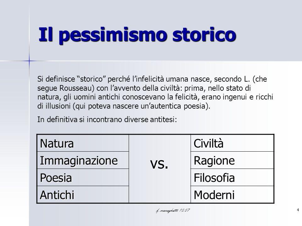 Il pessimismo storico vs. Natura Civiltà Immaginazione Ragione Poesia