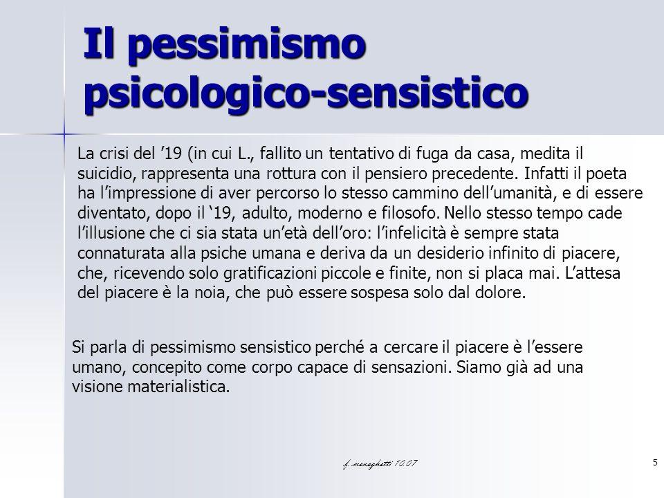 Il pessimismo psicologico-sensistico