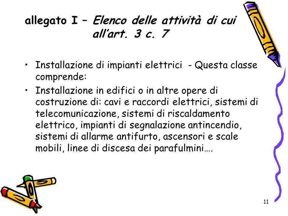 allegato I – Elenco delle attività di cui all'art. 3 c. 7