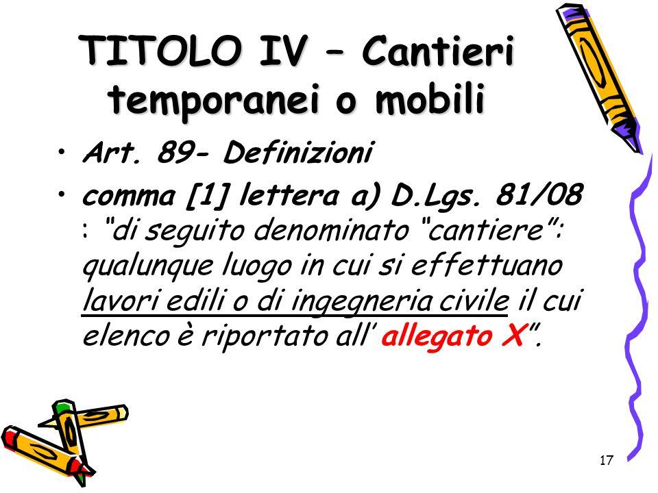 TITOLO IV – Cantieri temporanei o mobili