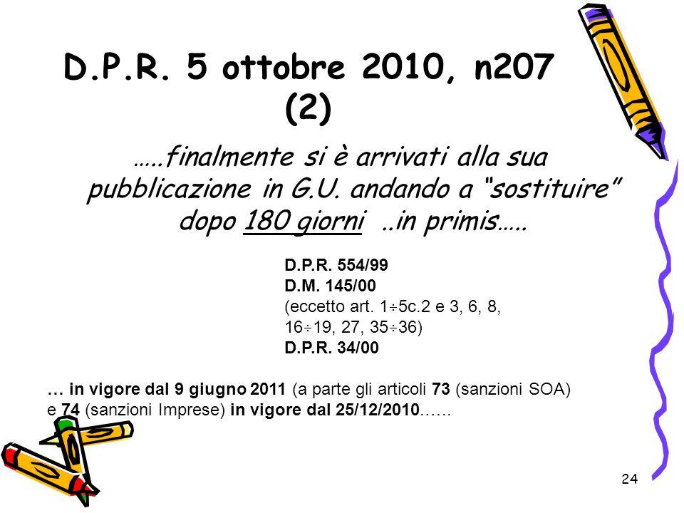 D.P.R. 5 ottobre 2010, n207 (2)…..finalmente si è arrivati alla sua pubblicazione in G.U. andando a sostituire dopo 180 giorni ..in primis…..