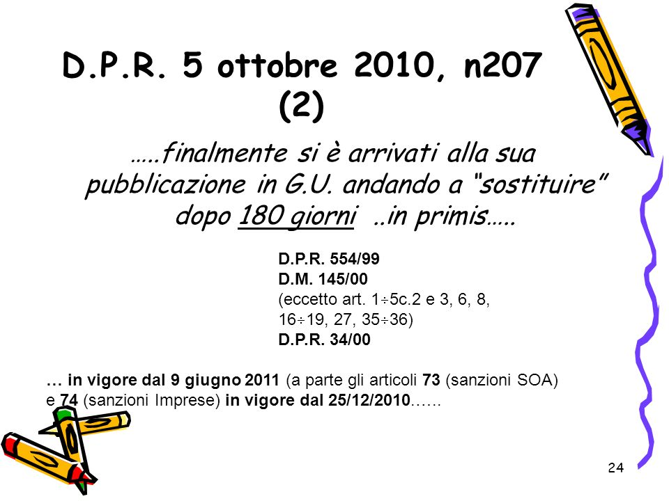 D.P.R. 5 ottobre 2010, n207 (2) …..finalmente si è arrivati alla sua pubblicazione in G.U. andando a sostituire dopo 180 giorni ..in primis…..