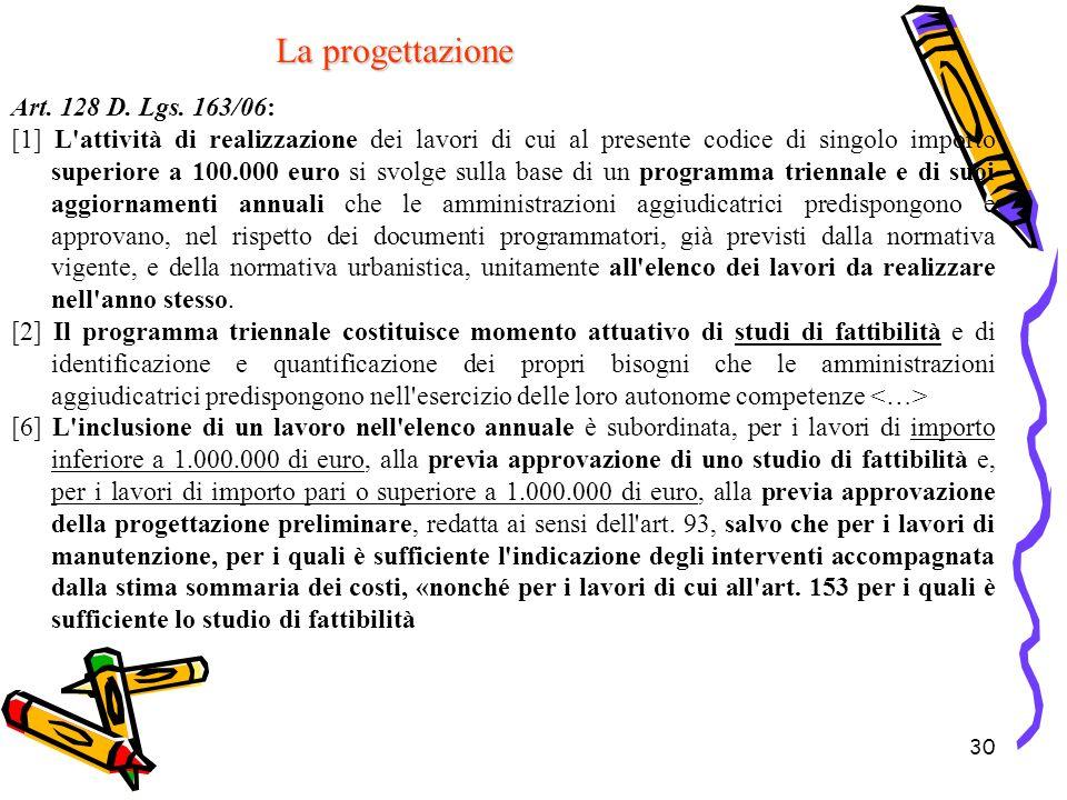 La progettazione Art. 128 D. Lgs. 163/06: