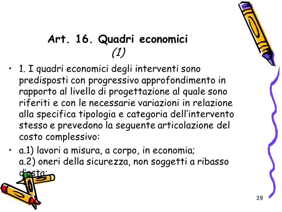 Art. 16. Quadri economici (1)
