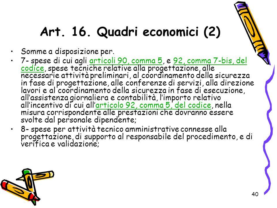 Art. 16. Quadri economici (2)