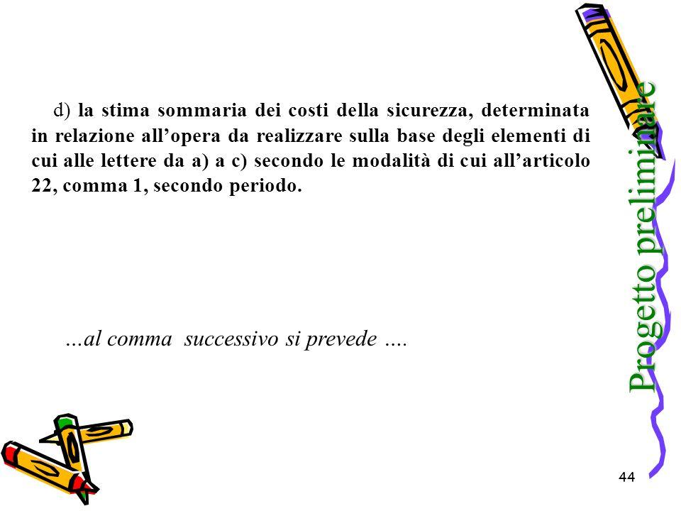 Progetto preliminare …al comma successivo si prevede ….