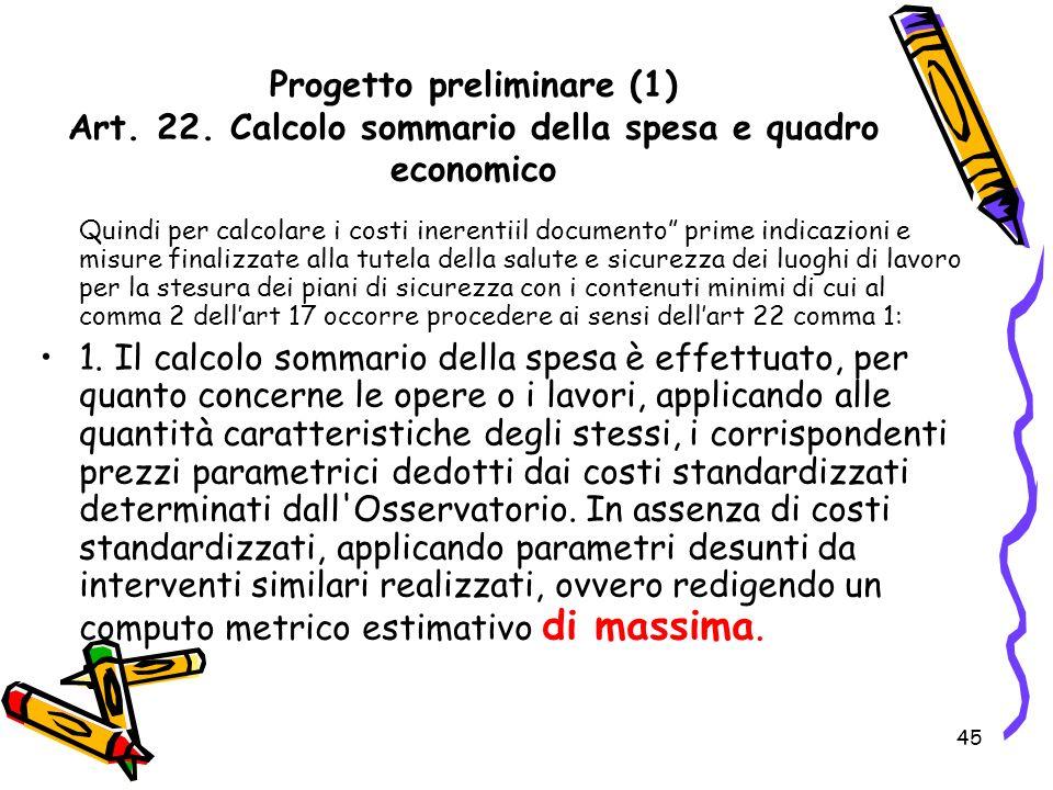 Progetto preliminare (1) Art. 22