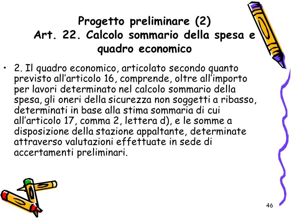 Progetto preliminare (2) Art. 22
