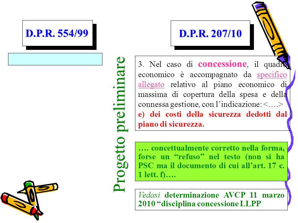 Progetto preliminare D.P.R. 554/99 D.P.R. 207/10