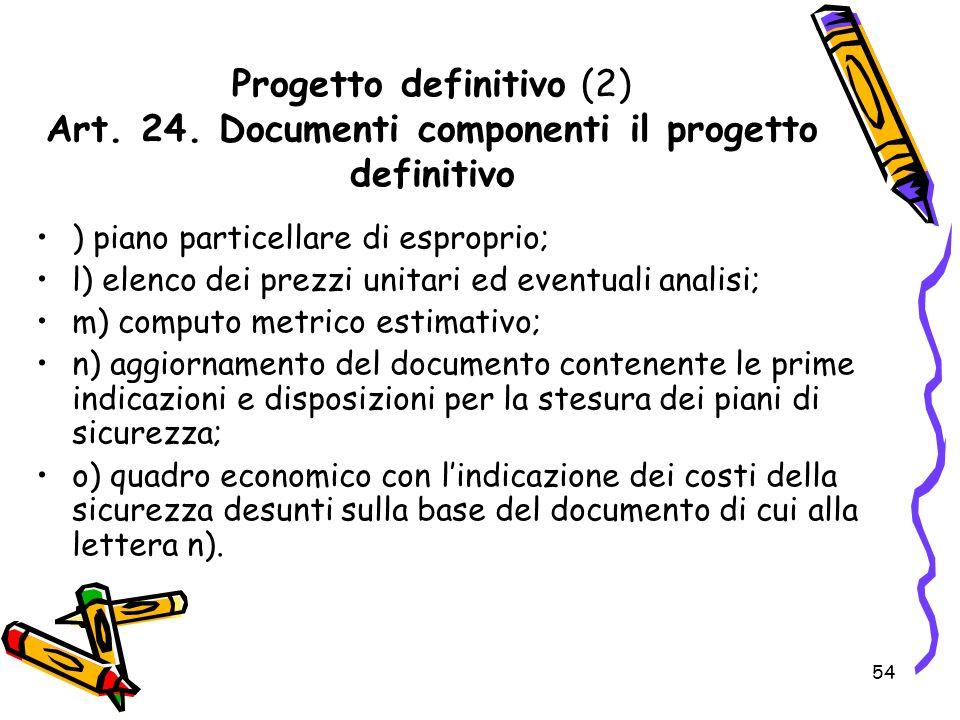 Progetto definitivo (2) Art. 24