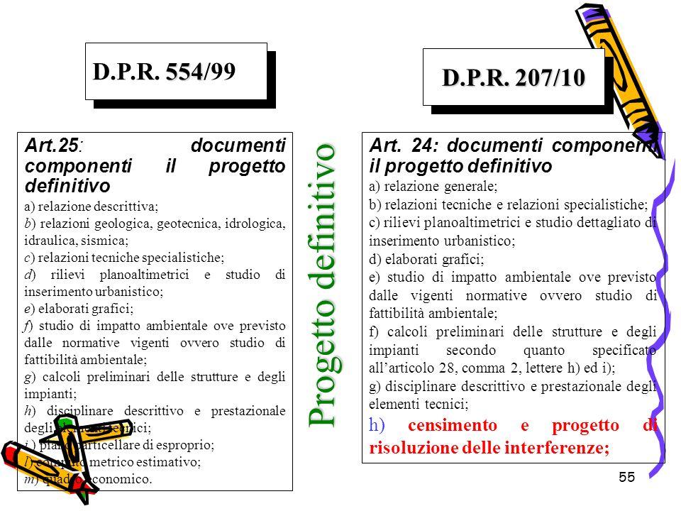 Progetto definitivo D.P.R. 554/99 D.P.R. 207/10