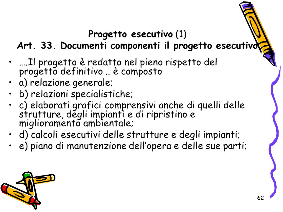 Progetto esecutivo (1) Art. 33