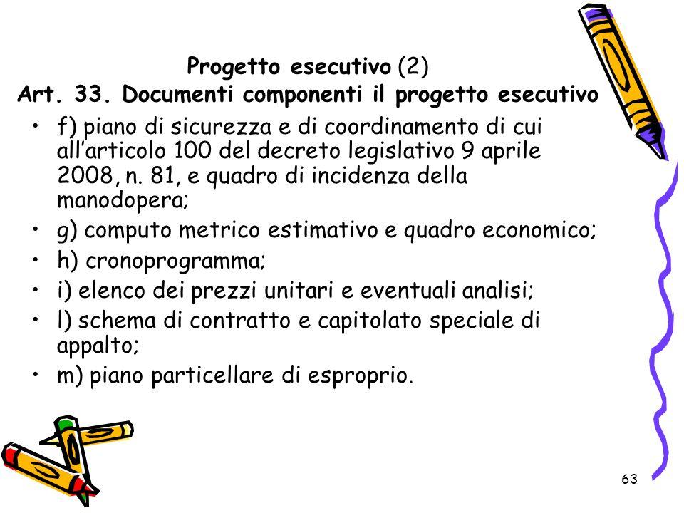 Progetto esecutivo (2) Art. 33